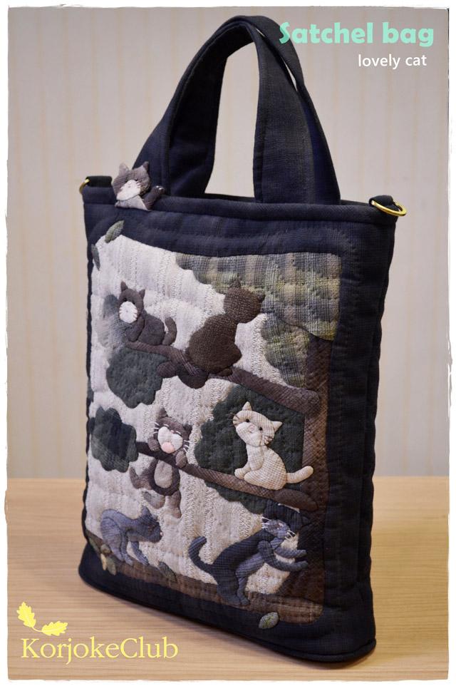กระเป๋าถือ แมวตกต้นไม้ งานควิลท์ ผ้าทอญี่ปุ่น
